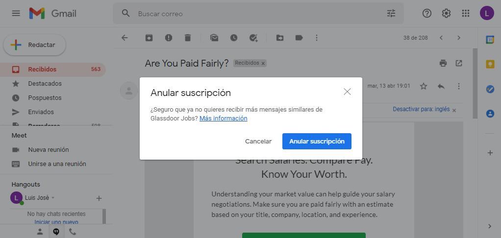 anular suscripción en Gmail