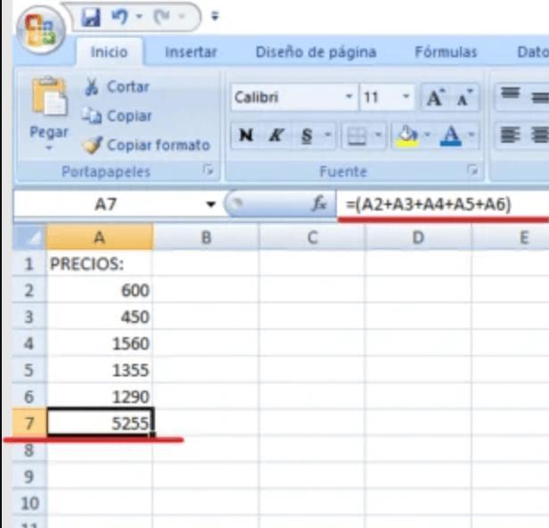formula sumar excell