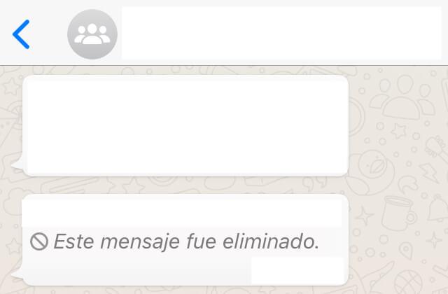 """Chat de WhatsApp mostrando un mensaje que dice """"Este mensaje fue eliminado""""."""