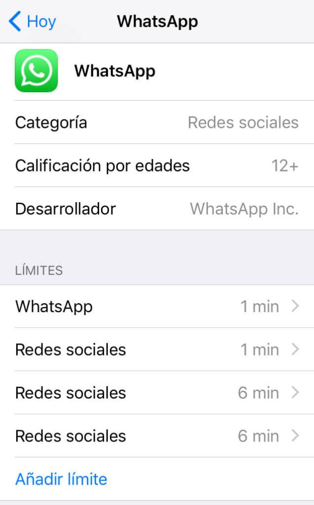"""Menú de configuración de los controles parentales de WhatsApp mostrando la opción """"Añadir límite""""."""