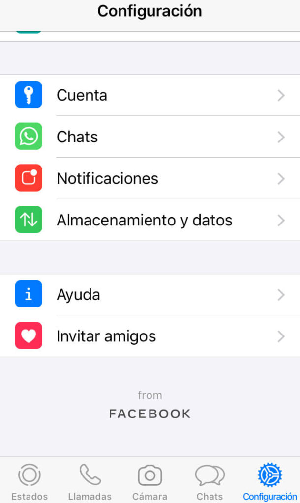 Menú de configuración de WhatsApp.