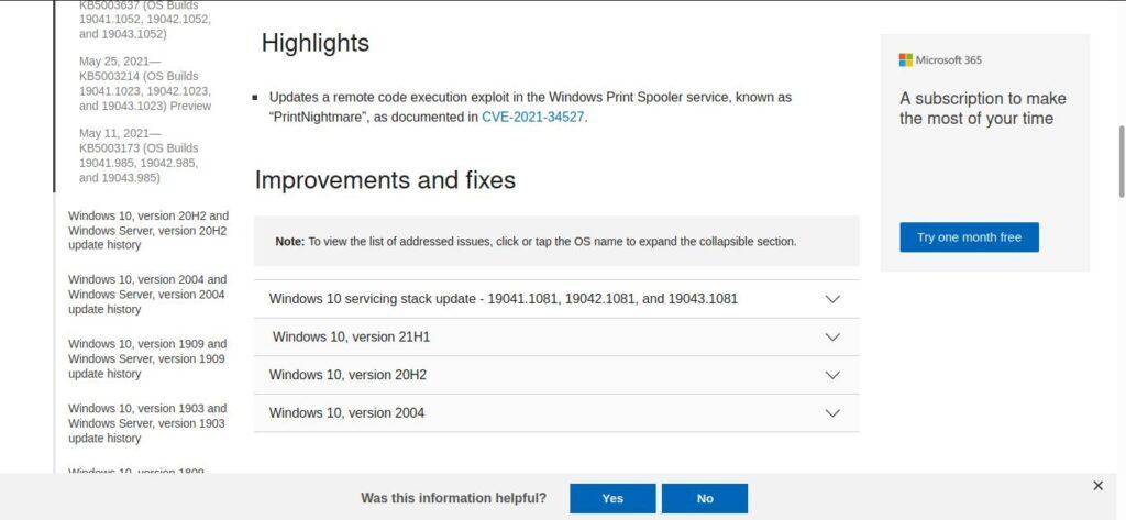 Descargar parche oficial de Microsoft Windows para PrintNightmare