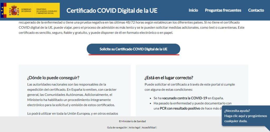 solicitud de certificado covid