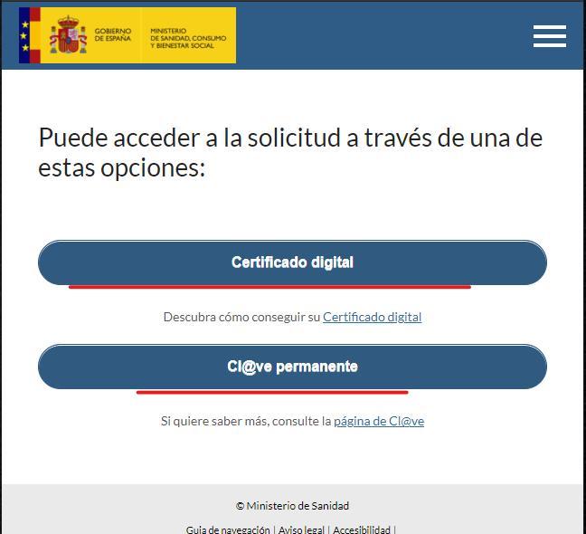 solicitar certificado covid con certificado digital o clave permanente