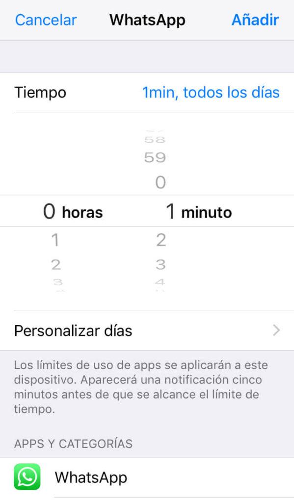 Menú para configurar el tiempo que tiene que pasar antes de que WhatsApp quede bloqueado.
