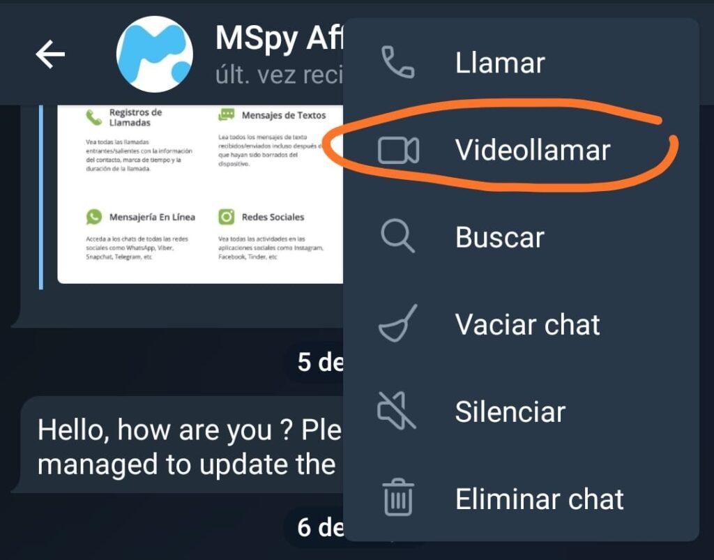 videollamada contacto bloqueado telegram
