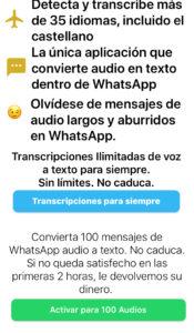 App de Audio a Texto Whats Mensajes mostrando un mensaje diciendo que el usuario debe seleccionar una suscripción paga para poder transcribir audios de WhatsApp.