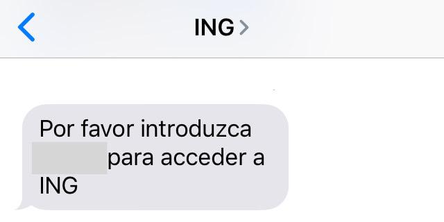 SMS con un código para poder acceder a una cuenta bancaria del banco ING.