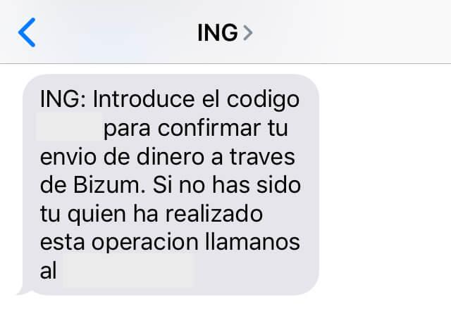 SMS con un código para poder enviar dinero a otra persona por Bizum.