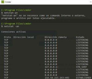 """Símbolo del sistema mostrando el comando """"netstat - an"""", y una IP con la dirección """"216.58.215.163"""". En este caso, optamos por usar un emulador del símbolo del sistema llamado Cmder."""