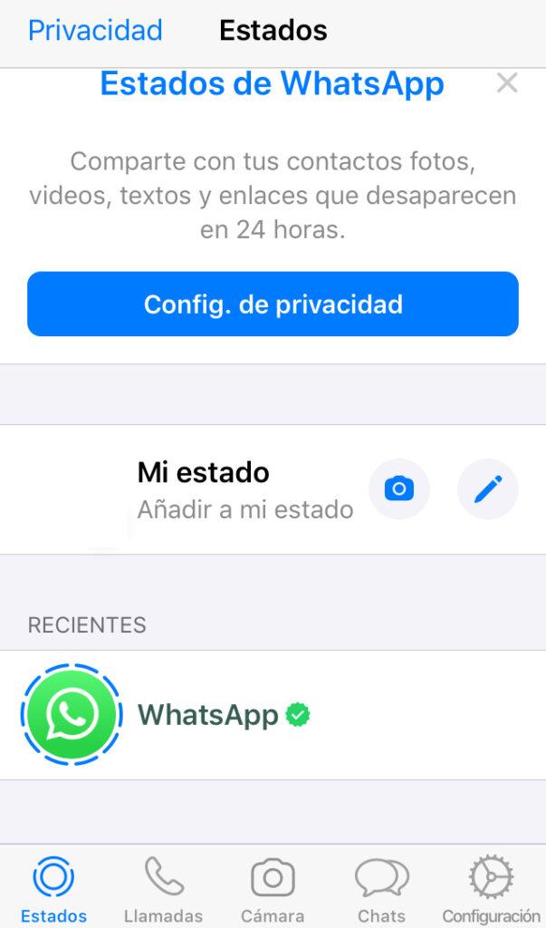 """Pestaña """"Estados"""" de WhatsApp mostrando el apartado """"Mi estado"""" y un icono de un lápiz."""