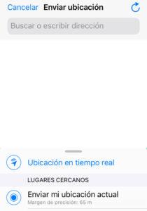 """Asistente de WhatsApp para compartir tu ubicación exacta, el cual muestra una opción que dice """"Enviar mi ubicación actual""""."""