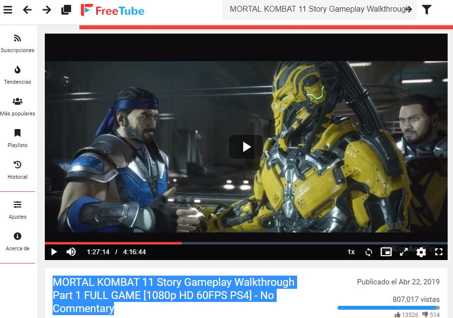 Vídeo de Mortal Kombat 11 en FreeTube, el cual estaba originalmente bloqueado por restricción de edad en YouTube.