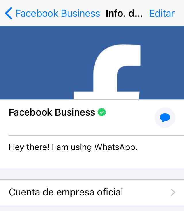 Perfil de WhatsApp de la cuenta de empresa de Facebook.