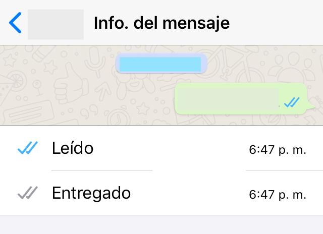 """Ventana de un chat de WhatsApp mostrando unos apartados llamados """"Leído"""" y """"Entregado"""" junto con la hora en el que un mensaje fue leído y entregado."""