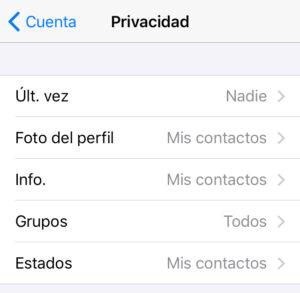 """Menú del apartado """"Privacidad"""", en el cual se puede observar la opción """"Últ. vez""""."""