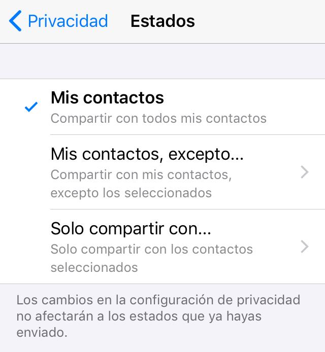 """Apartados """"Mis contactos, excepto..."""" y """"Solo compartir con..."""" del apartado """"Estados"""" de WhatsApp."""
