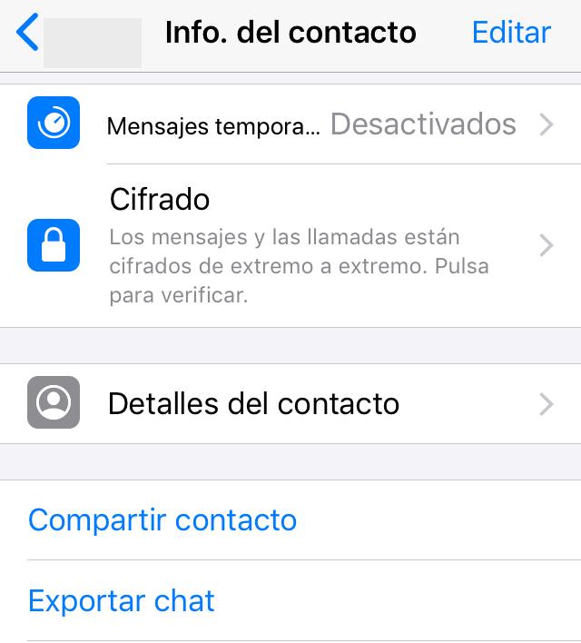 """Perfil de un usuario de WhatsApp mostrando la opción """"Compartir contacto""""."""