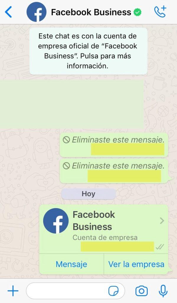 """Chat mostrando la tarjeta de contacto de la cuenta de empresa de Facebook de WhatsApp. Se observa que el usuario guardó esta cuenta con el nombre """"Facebook Business""""."""