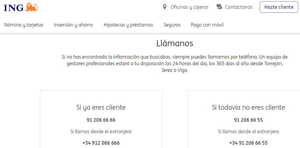 Página web del banco ING mostrando su número de teléfono de atención al cliente.
