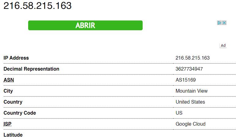 """Página web de Trace An IP mostrando la ciudad, el país, y hasta la latitud de la IP """"216.58.215.163""""."""