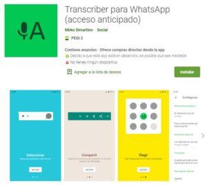 App de Transcriber en la Google Play Store. Se observa en el nombre de la app que dicha aplicación es de acceso anticipado.