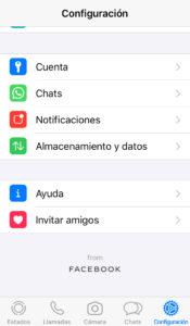 """Menú del apartado """"Configuración"""" de WhatsApp, el cual muestra la opción """"Cuenta""""."""