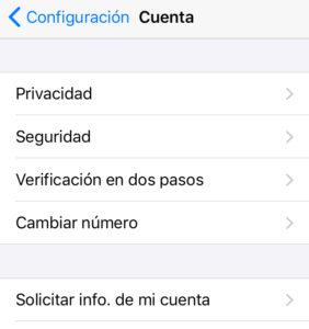 """Menú del apartado """"Cuenta"""" mostrando las opciones """"Verificación en dos pasos"""" y """"Privacidad""""."""