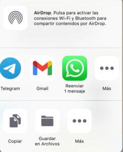 """Botón """"Más"""" con el icono de los tres puntos del modal que aparece al intentar compartir una nota de voz de WhatsApp."""