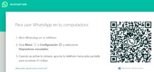 Versión web de WhatsApp, el cual muestra un código QR para que pueda iniciar sesión en él.