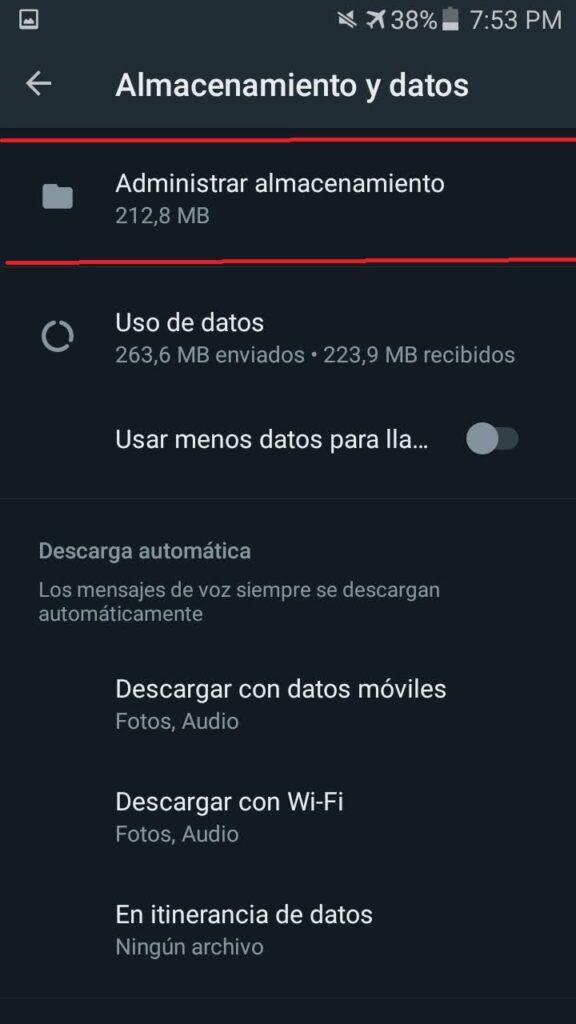 Administrar almacenamiento en Whatsapp Android