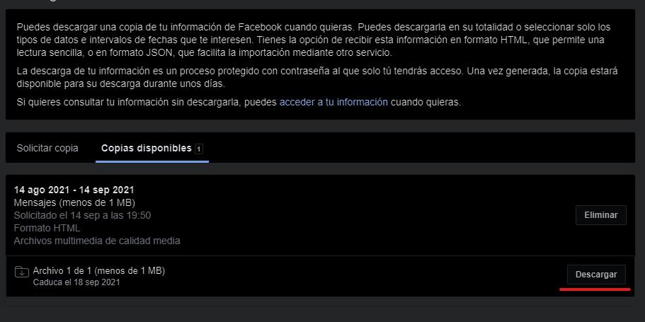 Descargar archivo de backup de facebook
