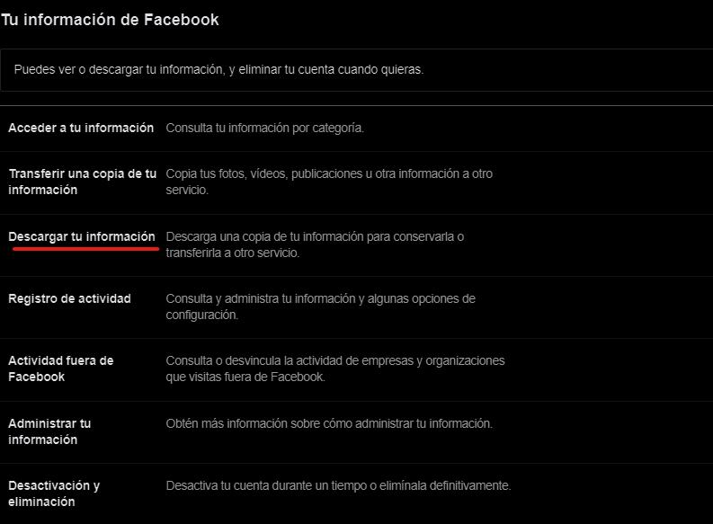 Descargar tu información de Facebook