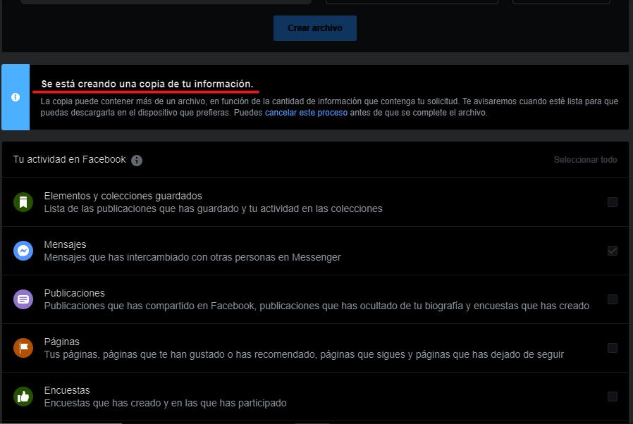 Generando archivo de backup en Facebook