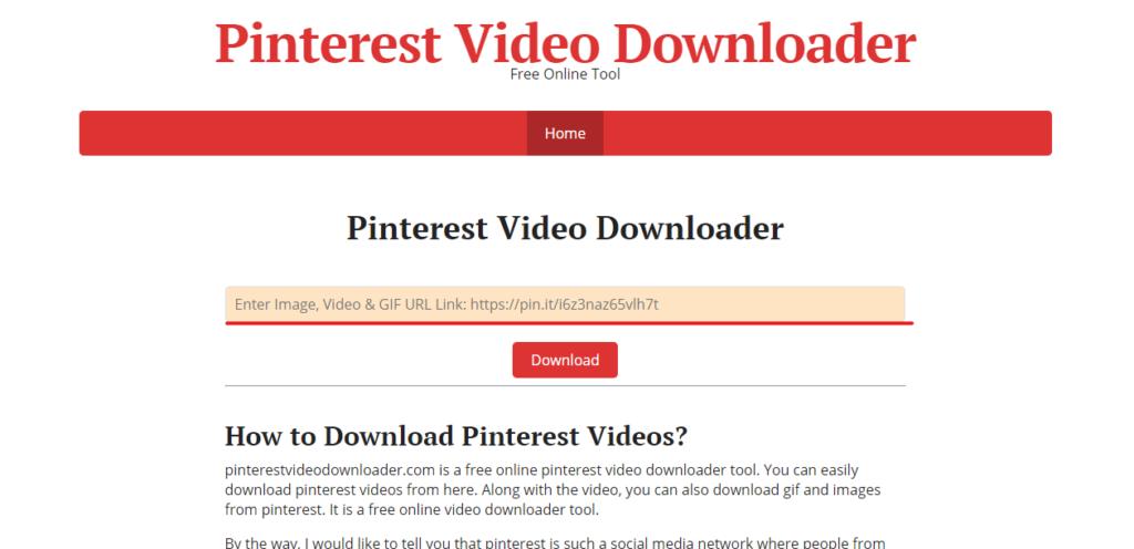 interfaz pinterest video downloader