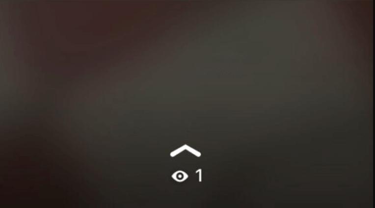Foto de un estado de WhatsApp en tamaño grande mostrando el icono de un ojo debajo del icono de una flecha apuntando hacia arriba.