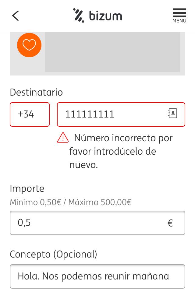 """Ventana para realizar un pago por Bizum en la app del banco ING. Se observa que se ha escrito un pequeño mensaje en un apartado llamado """"Concepto""""."""