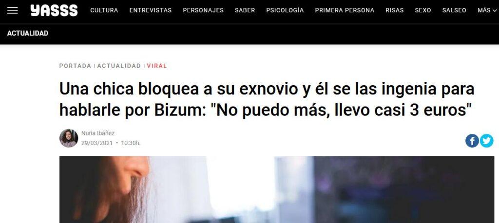 Sitio web de Yasss, el cual muestra la noticia de una chica que fue acosada por su exnovio a través de Bizum.
