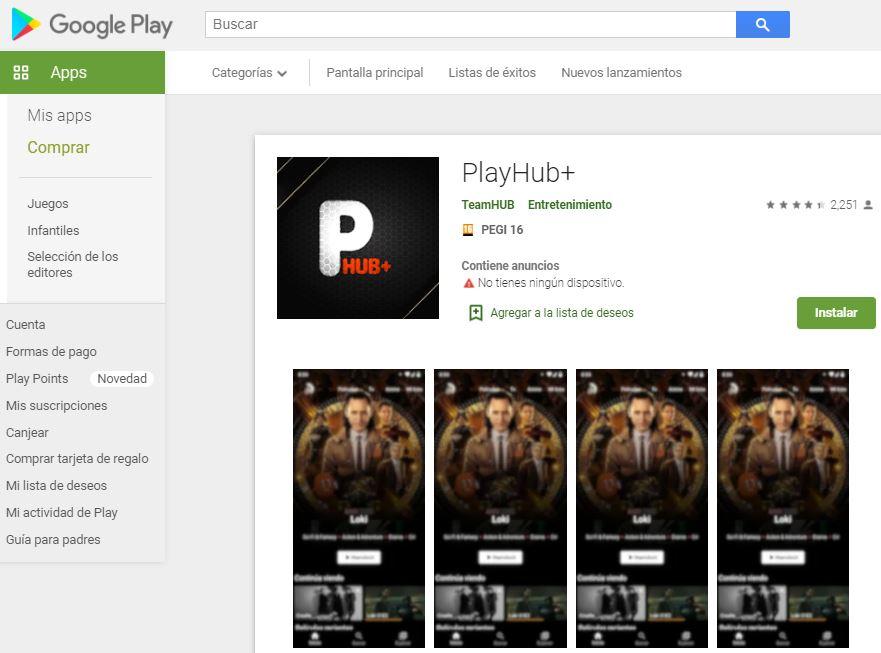 App de PlayHub Plus en la Google Play Store.