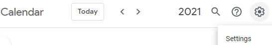 """Icono del engranaje con la opción """"Settings"""" de Google Calendar."""