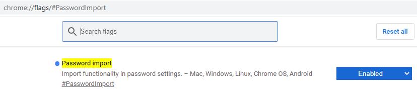 """Lista de funciones experimentales o """"flags"""" de Google Chrome, en donde se observa que se ha activado la función """"Password import""""."""