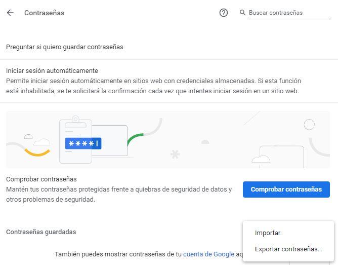 """Ventana de configuración de las contraseñas de Google Chrome, la cual muestra un menú con las opciones """"Importar"""" y """"Exportar"""" al lado del apartado """"Contraseñas guardadas""""."""