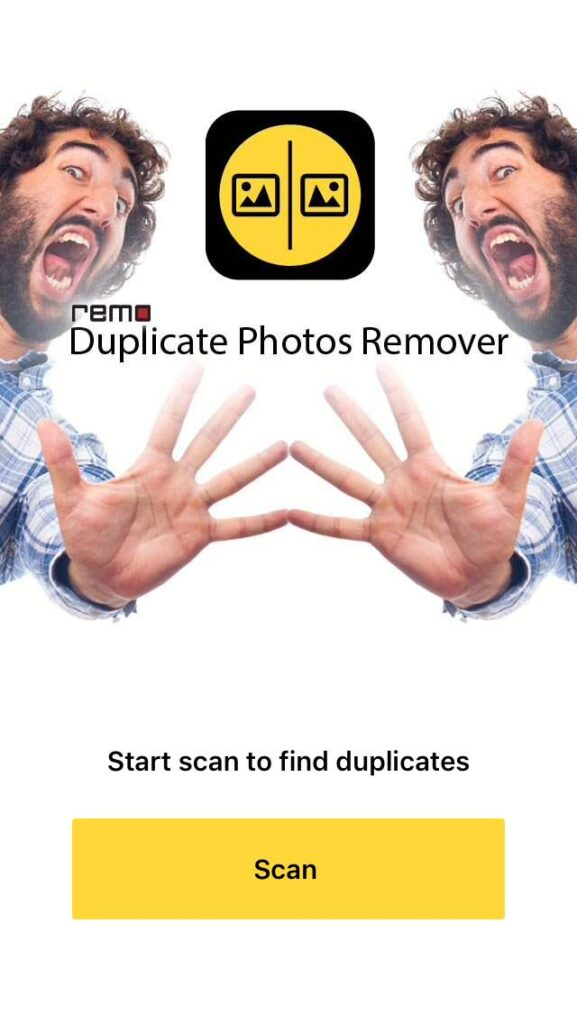 """Pantalla de inicio de Remo Duplicate Photos Remover mostrando el botón """"Scan""""."""