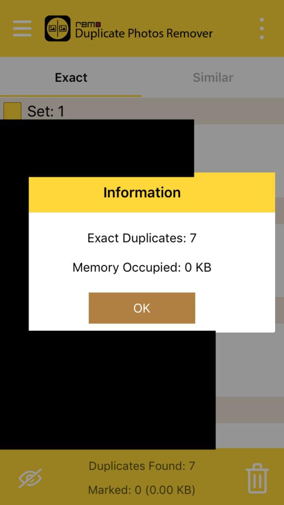 """Ventana de Remo Duplicate mostrando un modal diciendo el número de fotos duplicadas encontradas en un móvil, en el cual se observa el botón """"OK"""". Se puede observar un icono de unos tres puntos."""