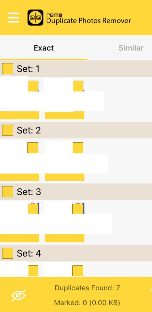 Remo Duplicate mostrando una lista de fotos duplicadas en un móvil. En el pie de la app, se observa un icono de un ojo con una línea diagonal.