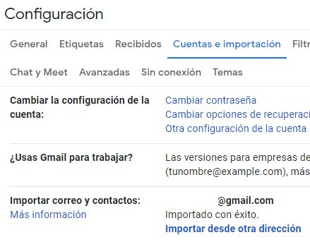 """Pestaña """"Cuentas e importación"""" de la ventana de configuración de Gmail, el cual muestra un apartado que dice """"Importar correo y contactos""""."""