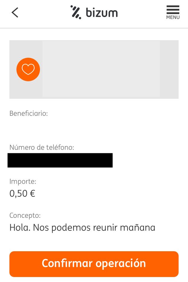 Usuario haciendo una transferencia por Bizum en la app de ING. Se observa el número de teléfono del destinatario del pago (censurado en la imagen).