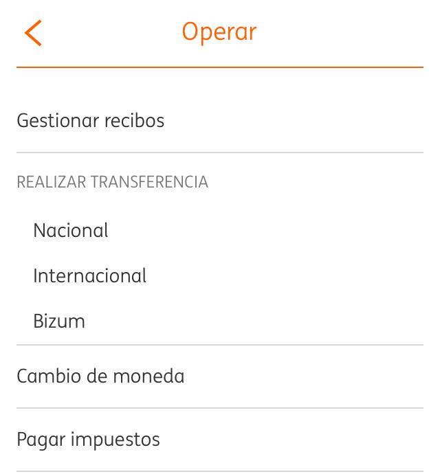 Cuenta de un usuario en la app del banco ING mostrando la opción de hacer transferencias por Bizum.