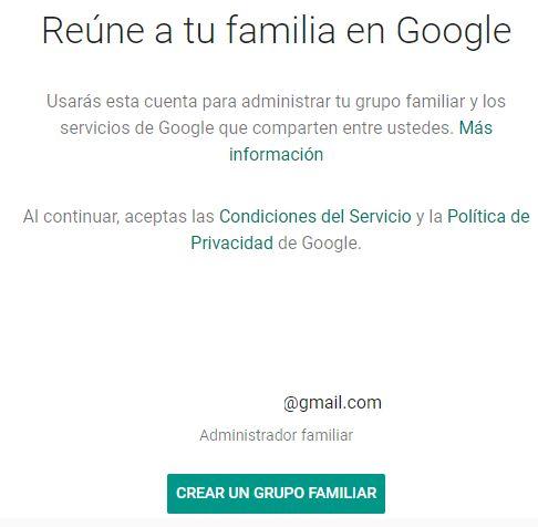Página web para darte de alta en Google Familias.