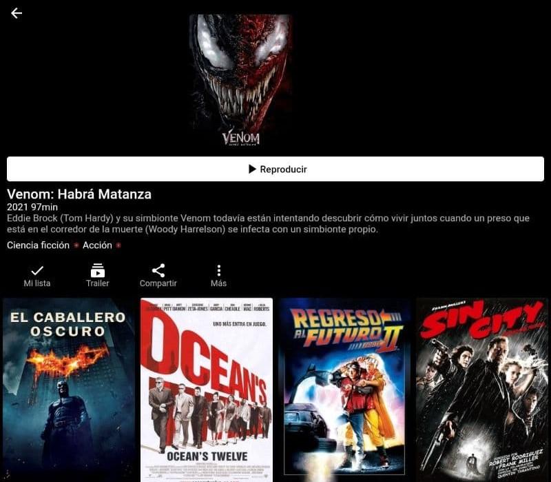 """PlayHub Plus mostrando una vista previa de una película, en el cual se observa el botón """"Reproducir""""."""